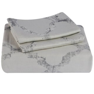 Just Linen 500 Thread Count 100% Cotton Damask, Abstract Design, Grey color, King 3 Piece BedSpread Coverlet Set