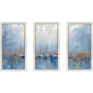 """""""Boats in the Harbor I"""" by Silvia Vassileva Framed Acrylic Wall Set - Blue"""