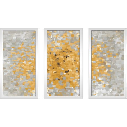 """Summer Blocks with Gray"" Framed Acrylic Wall Art Set - Yellow"