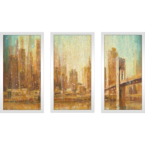 """Champagne City IV"" Framed Acrylic Wall Art Set - Orange"