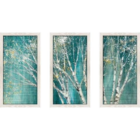"""Blue Birch Horizontal"" by Julia Purinton Framed Acrylic Wall Art Set - Green"