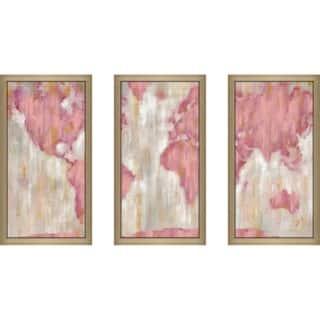 """Blushing World Map v2 Crop"" by Silvia Vassileva Framed Wall Set - Pink"