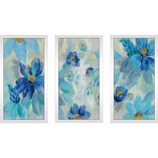 """Blue Flowers Whisper I"" by Silvia Vassileva Framed Acrylic Wall Set - Blue"