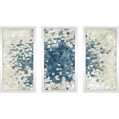 """Summer Blocks Blue"" Framed Acrylic Wall Art Set - Blue"
