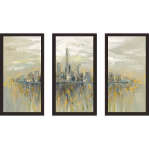 """Manhattan Fog"" by Silvia Vassileva Framed Acrylic Wall Art Set - Yellow"