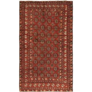 Hand Knotted Torkaman Semi Antique Wool Area Rug - 4' x 6' 10