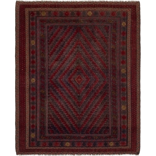 Hand Knotted Sumak Wool Area Rug - 5' 2 x 6' 5