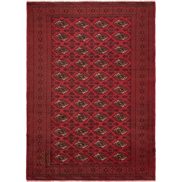 Hand Knotted Torkaman Wool Area Rug - 6' 7 x 9' 2