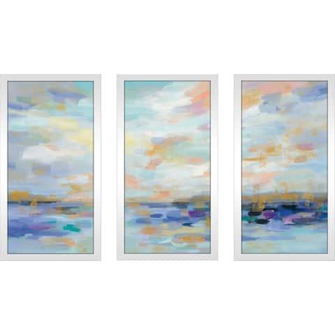 """Golden Sunrise"" by Silvia Vassileva Framed Acrylic Wall Art Set - Blue"