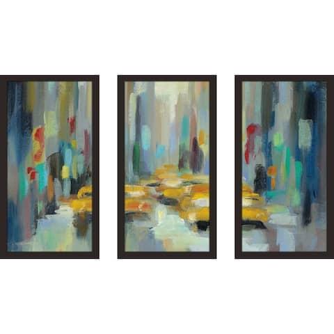 """Manhattan Sketches II IV"" by Silvia Vassileva Framed Acrylic Wall Set - Blue"