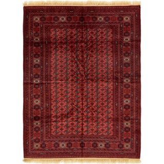 Hand Knotted Torkaman Wool Area Rug - 6' 9 x 9' 4