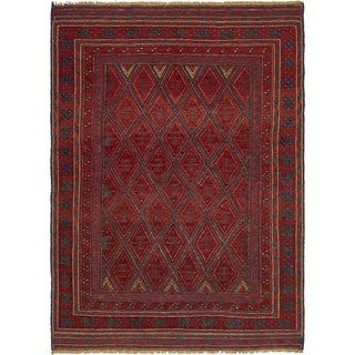 Hand Knotted Sumak Wool Area Rug - 4' 7 x 6' 5