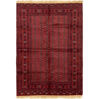 Hand Knotted Torkaman Wool Area Rug - 6' 6 x 9' 5