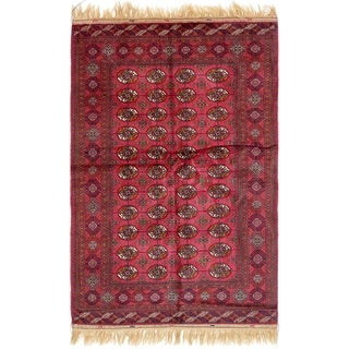 Hand Knotted Torkaman Wool Area Rug - 5' 3 x 8' 4