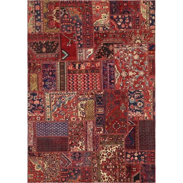Hand Knotted Ultra Vintage Antique Wool Area Rug - 6' 3 x 9'