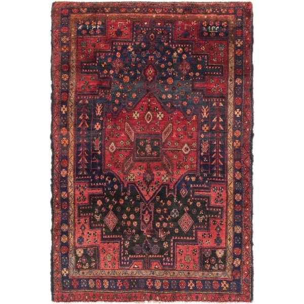 Hand Knotted Tuiserkan Semi Antique Wool Area Rug - 4' 5 x 7'