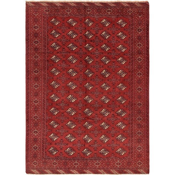 Hand Knotted Torkaman Semi Antique Wool Area Rug - 6' 8 x 9' 5