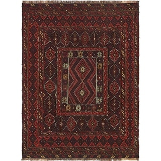 Hand Knotted Sumak Wool Area Rug - 4' 2 x 5' 7
