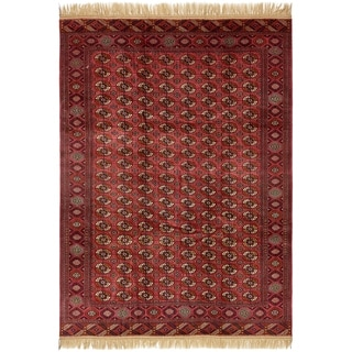 Hand Knotted Torkaman Wool Area Rug - 8' X 11'