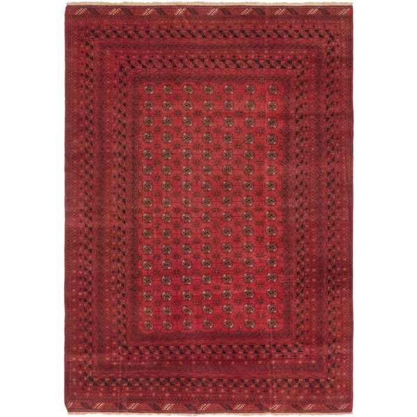 Hand Knotted Torkaman Wool Area Rug - 7' 2 x 10' 3