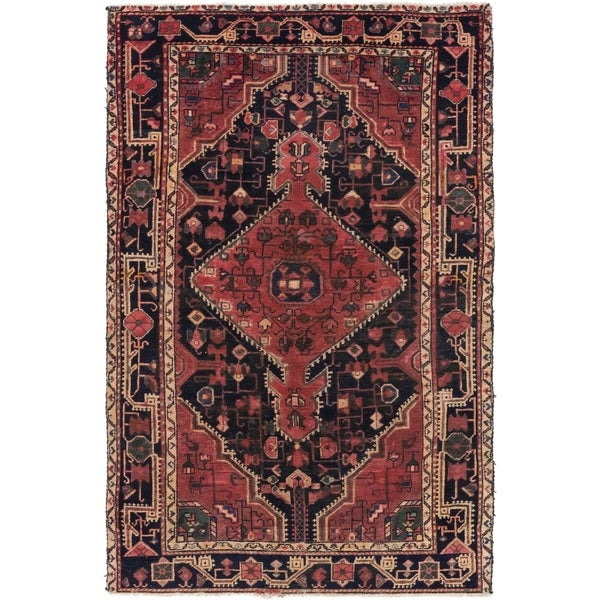 Hand Knotted Tuiserkan Semi Antique Wool Area Rug - 4' 2 x 6' 3