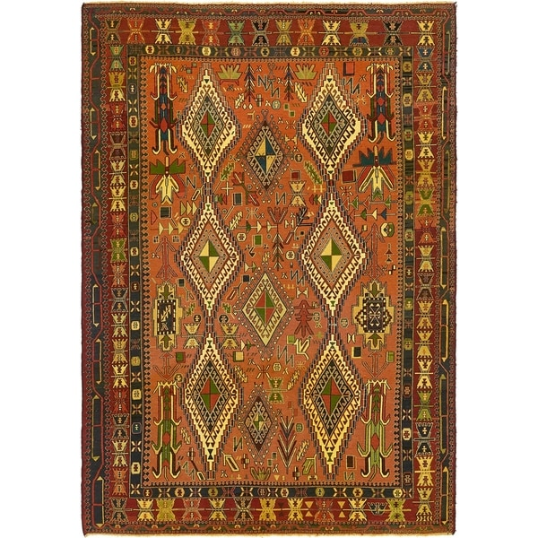 Hand Knotted Sumak Wool Area Rug - 6' 5 x 9' 7