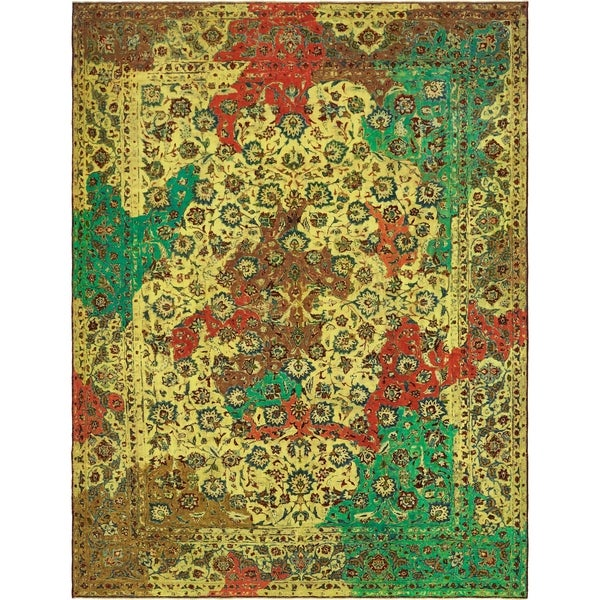 Hand Knotted Ultra Vintage Antique Wool Area Rug - 9' 10 x 12' 10