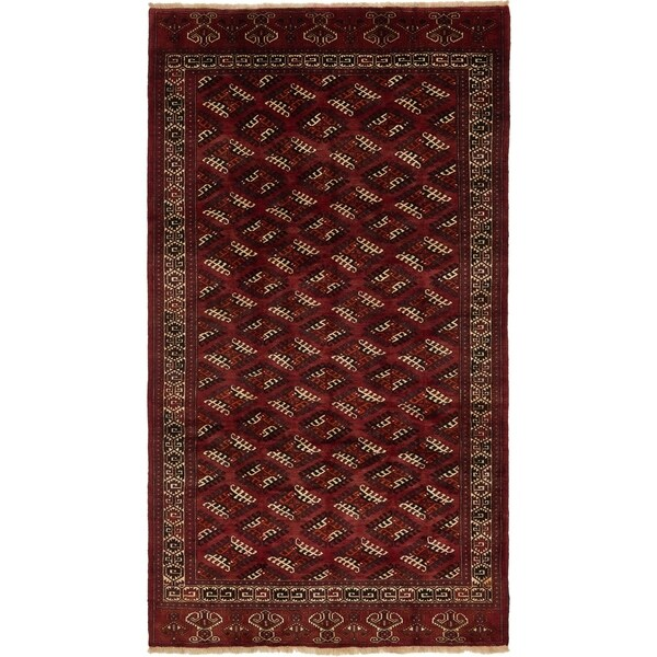 Hand Knotted Torkaman Wool Area Rug - 7' x 12' 4