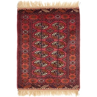 Hand Knotted Torkaman Wool Area Rug - 2' 9 x 4' 3