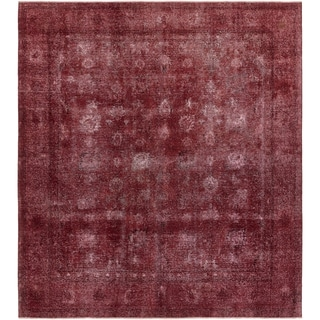 Hand Knotted Ultra Vintage Antique Wool Area Rug - 9' 7 x 10' 9