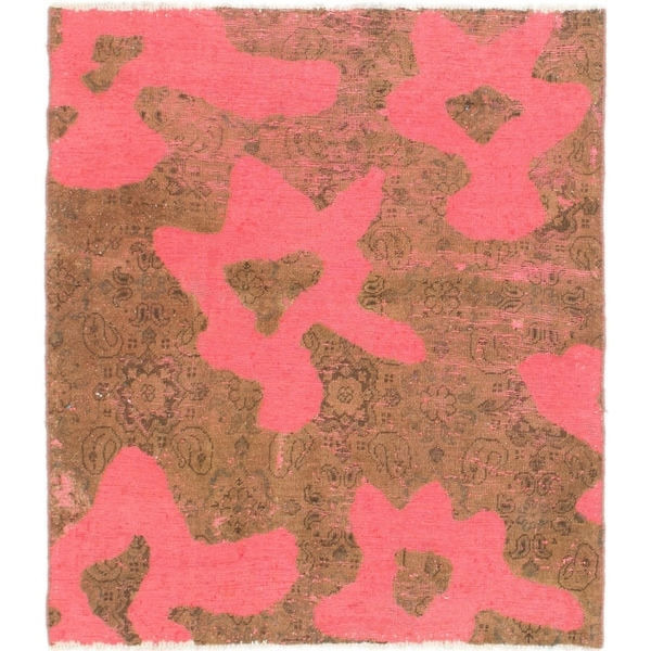 Hand Knotted Ultra Vintage Wool Square Rug - 4' 6 x 5'