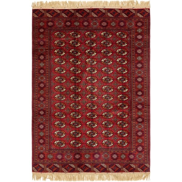 Hand Knotted Torkaman Wool Area Rug - 6' x 9' 4