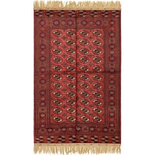 Hand Knotted Torkaman Wool Area Rug - 5' 4 x 8' 6