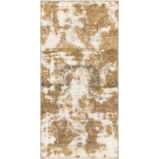 Hand Knotted Ultra Vintage Antique Wool Runner Rug - 3' x 6'