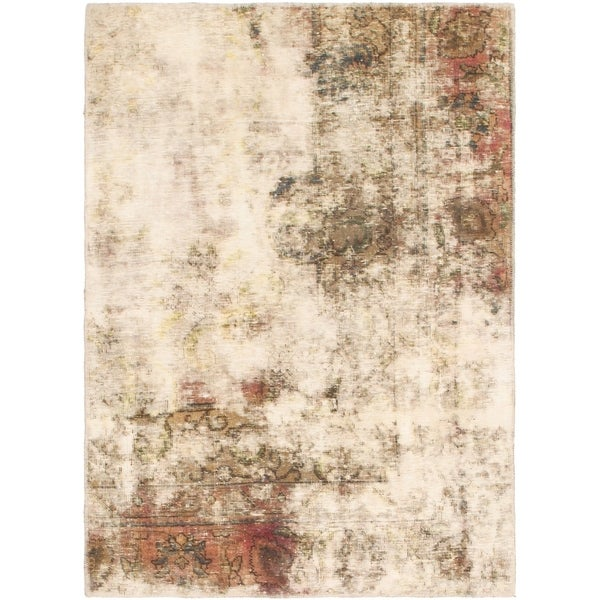 Hand Knotted Ultra Vintage Antique Wool Area Rug - 3' 7 x 5'