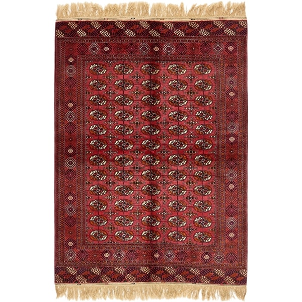 Hand Knotted Torkaman Wool Area Rug - 5' 4 x 7' 9