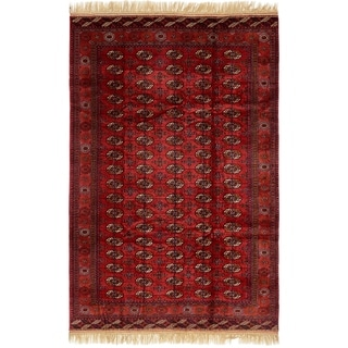 Hand Knotted Torkaman Wool Area Rug - 6' 7 x 10'
