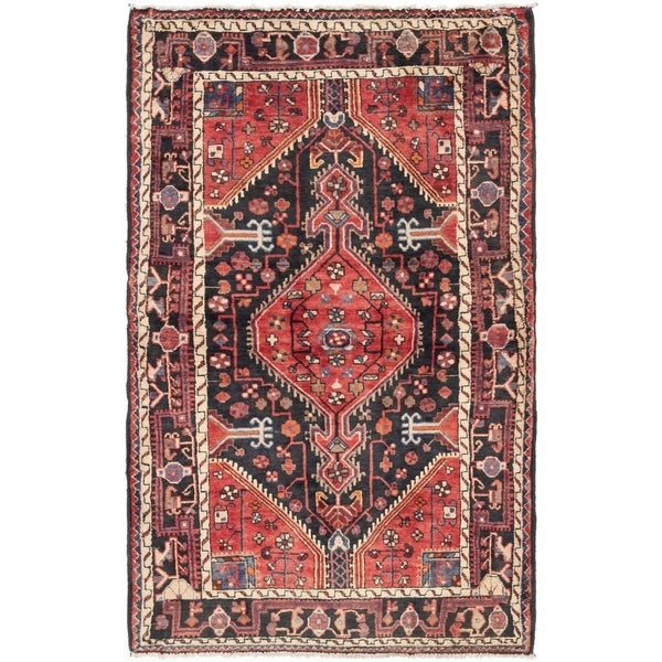 Hand Knotted Tuiserkan Semi Antique Wool Area Rug - 3' 9 x 5' 10