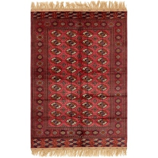 Hand Knotted Torkaman Wool Area Rug - 5' 3 x 8' 8