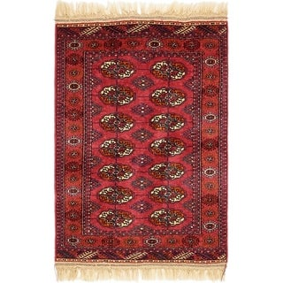 Hand Knotted Torkaman Wool Area Rug - 2' 9 x 4' 4