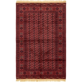Hand Knotted Torkaman Wool Area Rug - 6' 5 x 10'