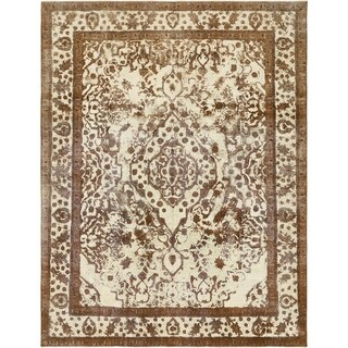 Hand Knotted Ultra Vintage Antique Wool Area Rug - 9' 9 x 12' 9