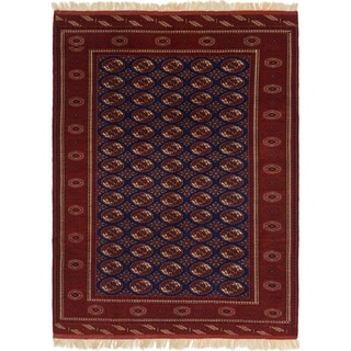 Hand Knotted Torkaman Wool Area Rug - 7' x 9' 7