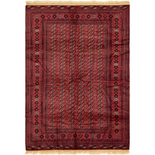 Hand Knotted Torkaman Wool Area Rug - 6' 7 x 9' 7