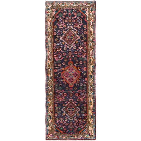 Hand Knotted Tuiserkan Semi Antique Wool Runner Rug - 3' 5 x 9' 5