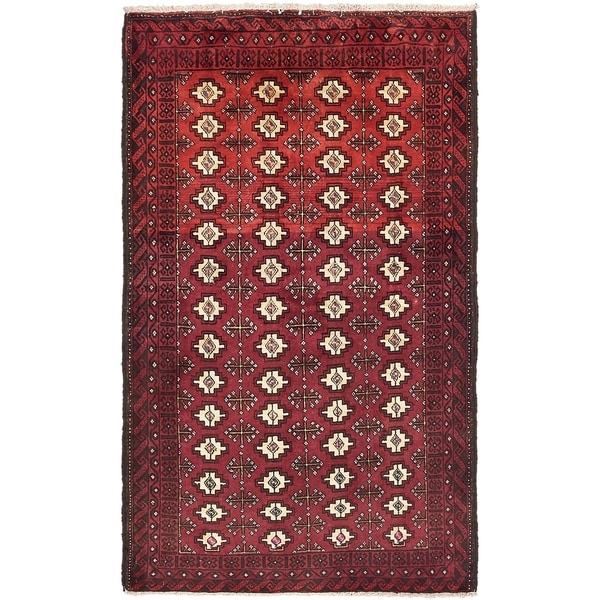 Hand Knotted Torkaman Semi Antique Wool Area Rug - 3' 8 x 6' 2