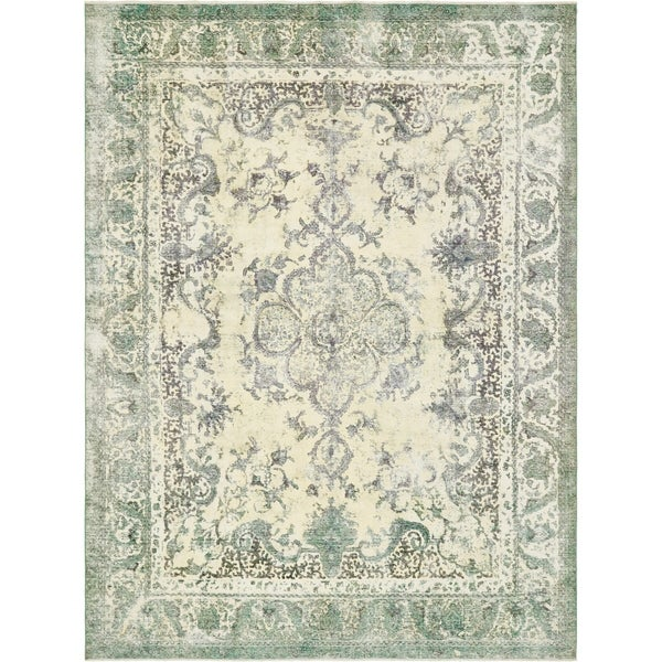 Hand Knotted Ultra Vintage Antique Wool Area Rug - 9' 9 x 13'