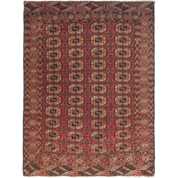 Hand Knotted Torkaman Semi Antique Wool Area Rug - 4' 2 x 5' 7