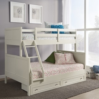 Copper Grove Pleternica White Wood Twin-over-Full Bunk Bed with Storage Drawers