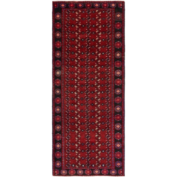 Hand Knotted Torkaman Semi Antique Wool Runner Rug - 3' 10 x 9' 6
